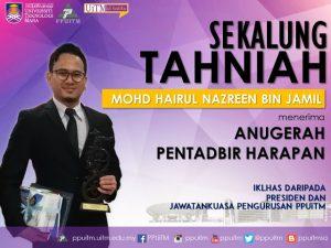 Tahniah diatas anugerah sebagai Pentadbir Harapan