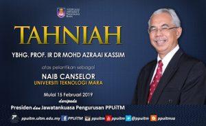 Ucapan sekalung tahniah kepada YBrs. Prof. Ir. Dr. Mohd Azraai Bin Kassim